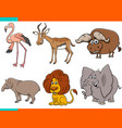 set cartoon wild animals comic characters vector image vector image