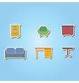 set of color icons with furniture vector image vector image