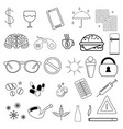 set of simple linear icons without filling badges vector image