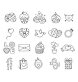 Set valentine day objects Love icon vector image