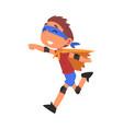 smiling boy running wearing superhero costume vector image vector image