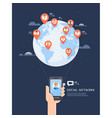 social network global communication flat vector image vector image