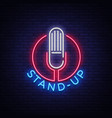 stand up logo in neon style comedy show is neon vector image