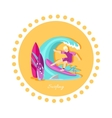 Surfing Sport Icon Flat Design vector image