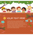 template with happy kids on brick wall vector image vector image