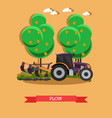 tractor plowing soil in vector image