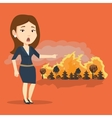 Woman standing on background of wildfire vector image vector image