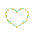 Yellow Yarrow Flowers in A Heart Shape Frame vector image vector image