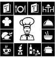 Set of restaurant icons in white on black vector image