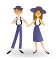 adorable little pupils holding hands isolated on vector image