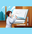 architect working in the office vector image vector image