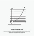 arrow chart curve experience goal icon line gray vector image vector image