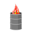 Barrel with fire Fire for homeless to become vector image vector image
