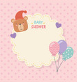 bashower lace card with little bear teddy and vector image vector image
