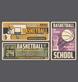 basketball players with ball basket trophy cup vector image vector image