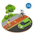 Bikers in city Cycling on bike path Bicycle road vector image vector image