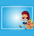 border template with girl and box of toys vector image vector image