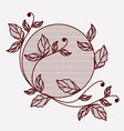 branch with leaves lace ornament circular in vector image