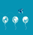business jumping through air balloon global vector image vector image