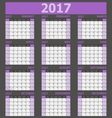 Calendar 2017 week starts on Sunday purple tone vector image vector image
