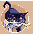 cartoon cat with a bone in its mouth vector image vector image