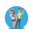 cartoon character cheerful girl and boy with sport vector image vector image