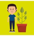 character pot plant vector image