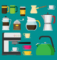 coffee icons flat design set isolated on color vector image