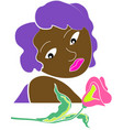 colored woman witch flower vector image