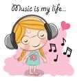 Cute cartoon Girl with headphones vector image vector image