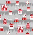 cute christmas pattern scandinavian red houses vector image vector image
