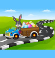 easter bunny driving a car carrying easter eggs on vector image vector image