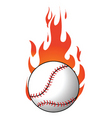 flaming baseball vector image vector image