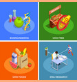 genetically modified organisms isometric concept vector image vector image