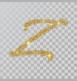gold glitter powder letter z in hand painted style vector image vector image