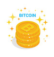 golden bitcoins stack over white background with vector image