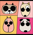 hand drawn cute dog face characters set vector image vector image