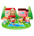 happy children at the swimming pool vector image vector image
