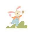 happy cute bunny having fun with eggs happy vector image vector image