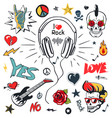 headphones music musical patches stickers icons vector image vector image