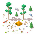isometric 3d low poly elements in the vector image