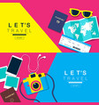 lets travel layout flat design vector image