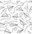 line paper airplane seamless pattern flying vector image