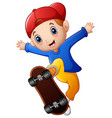 little boy cartoon playing skateboard vector image vector image