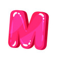 m magenta glossy bright english letter kids font vector image vector image