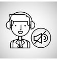 man hand drawing listening music no sound vector image vector image