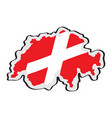 map of switzerland with its flag vector image vector image