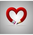 Pencil heart vector image vector image