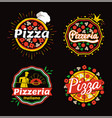 pizza and pizzeria logos set vector image vector image