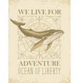 retro travel banner with big whale and old map vector image vector image